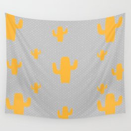 Mustard Cactus White Poka Dots in Gray Background Pattern Wall Tapestry