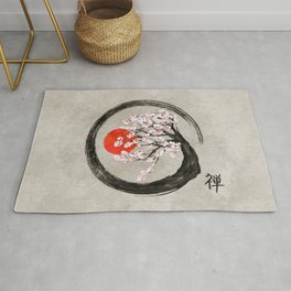 Zen Enso Circle and Sakura Tree on Canvas Rug