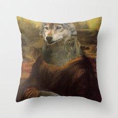 Furry Monnalisa  Throw Pillow