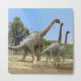 Dinosaurs walking on the river Metal Print