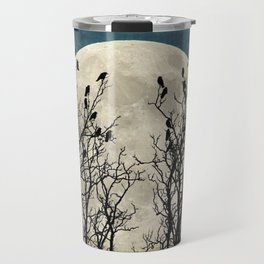 Black Birds Crow Raven Tree Moon Teal Blue Sky Art A541 Travel Mug