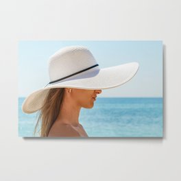 Vacation Time, Summer Holiday, Young Woman Portrait, White Beach Hat, Happy Girl, Sea And Ocean Metal Print