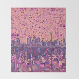 san antonio city skyline abstract 5 Throw Blanket