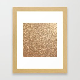 Copper Rose Gold Metallic Glitter Framed Art Print