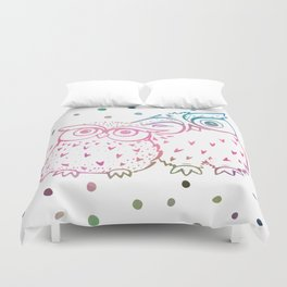 Owls - pink and blue Duvet Cover