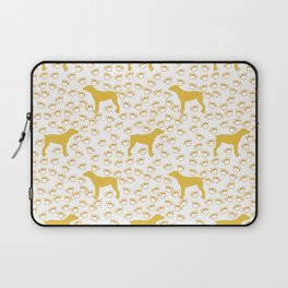 Big Yellow Dog and Paw Prints Laptop Sleeve