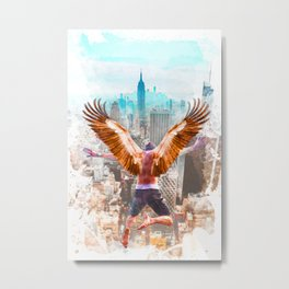 New York Icarus Watercolor Metal Print