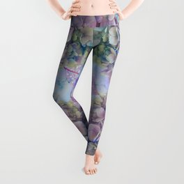 Watercolor hydrangeas and leaves Leggings