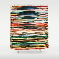 vinyl Shower Curtains featuring Vintage Vinyl  by Laura Ruth