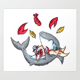 Lobstah Dinnah Art Print