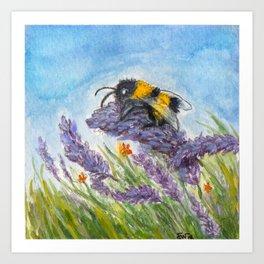 Bumblebee in Lavender Art Print