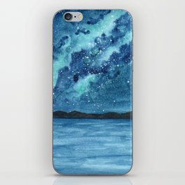 """""""Sea Glass Galaxy"""" watercolor landscape painting iPhone Skin"""