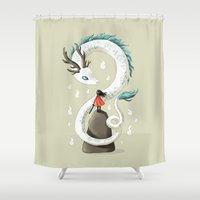 chihiro Shower Curtains featuring Dragon Spirit by Freeminds