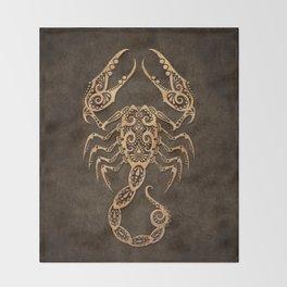 Vintage Rustic Scorpio Zodiac Sign Throw Blanket