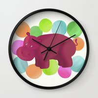 hippo Wall Clocks featuring Hippo by Katy Welte