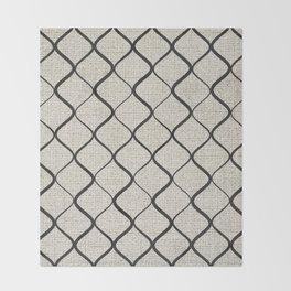 Black Bege Modern Lines Pattern Throw Blanket