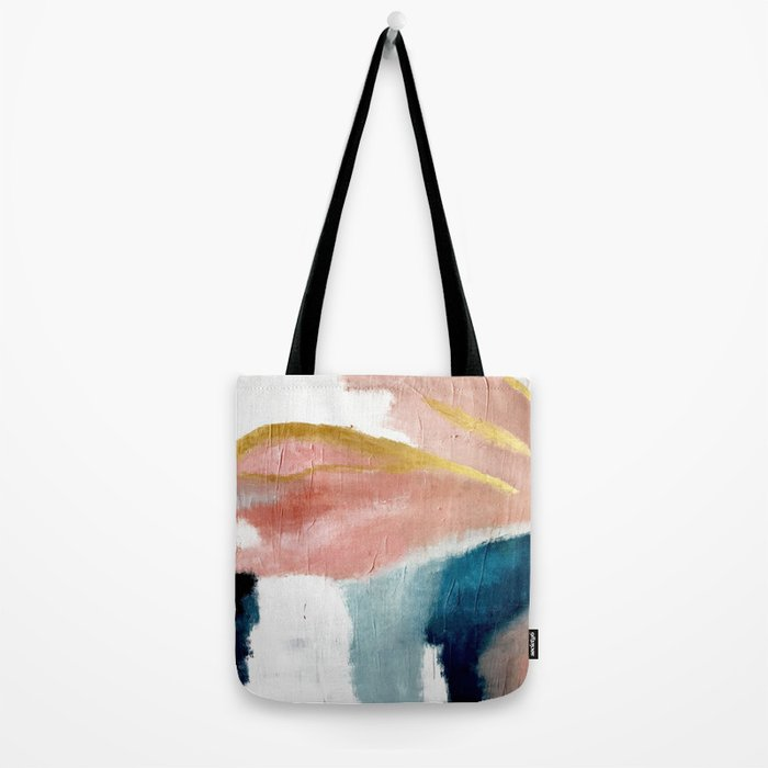 Exhale: a pretty, minimal, acrylic piece in pinks, blues, and gold Tote Bag