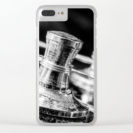 In Tune close up electric guitar tuning post and string Clear iPhone Case