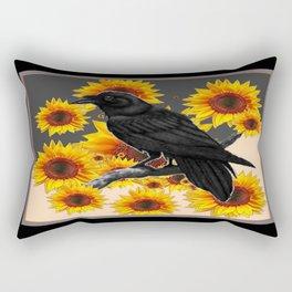 Black Crow in Sun Flower Fields Abstract Pattern Rectangular Pillow