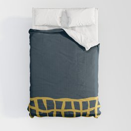 Mesh Cuff Solid Minimalism in Light Mustard Yellow and Navy Blue Comforters
