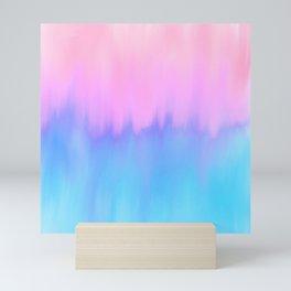Elegant teal lavender pink watercolor brushstrokes ikat Mini Art Print