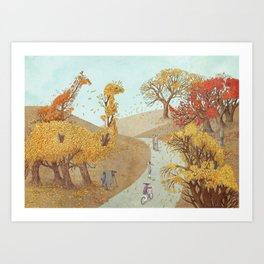 The Night Gardener - Autumn Park Art Print