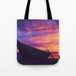 Longtail Thai boat on the beach Tote Bag