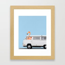 The Flamingo & His Adventure Van Framed Art Print