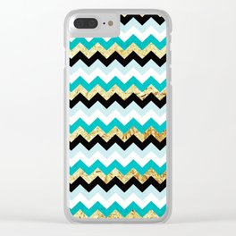 Black, Teal, and Gold Chevron Pattern Clear iPhone Case