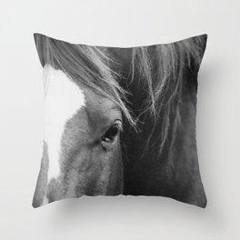 A Horse's Stare Throw Pillow