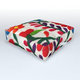 Red Mexican Flower Outdoor Floor Cushion