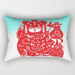 Little Girl With Dragon Rice Paper Art Rectangular Pillow