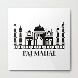 Taj Mahal Black And White Sketch Metal Print