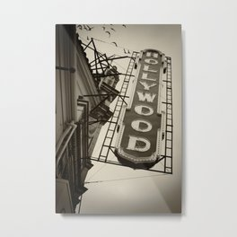 Portland Hollywood Theatre Black and White Metal Print