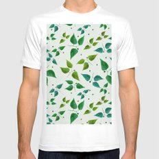 Floral Butterflies Mens Fitted Tee MEDIUM White