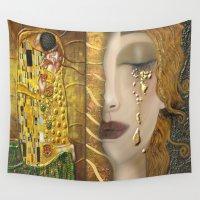 klimt Wall Tapestries featuring My Klimt Serie:Gold by Müge Başak