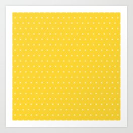 Yellow and white cross sign pattern Art Print