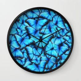 Peace of the Blue Butterfly Wall Clock