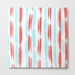 Red and Blue Oil Stripes Pattern Metal Print