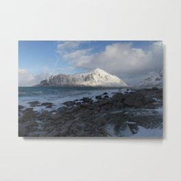 White, blue and grey Metal Print