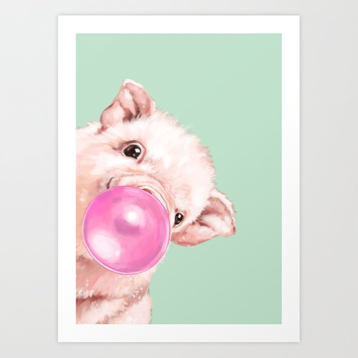 Bubble Gum Sneaky Baby Pig in Green Art Print