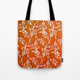 White Leaves love Orange Tote Bag