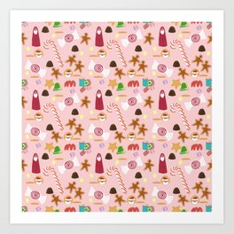 Christmas Sweeties Candies, Peppermints, Candy Canes and Chocolates on Pink Art Print