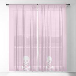 LIGHT PINK & WHITE SKULL Sheer Curtain