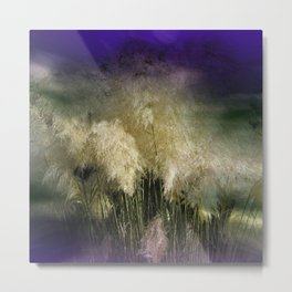 Pampas grass on textured background -2- Metal Print