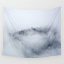 Trees through the foggy mountains Wall Tapestry