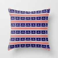 anchors Throw Pillows featuring anchors by Manoou