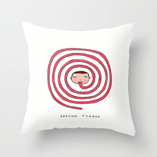 Awesome tongue Throw Pillow