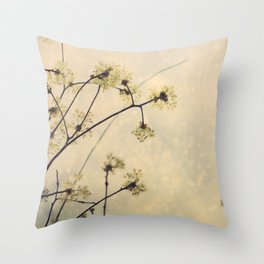 Spring Branches in White Botanical Throw Pillow