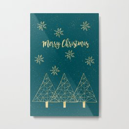 Merry Christmas Teal Gold Metal Print